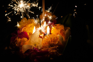 A beautiful krathong, lit and ready for release during Loy Krathong in Chiang Mai, Thailand