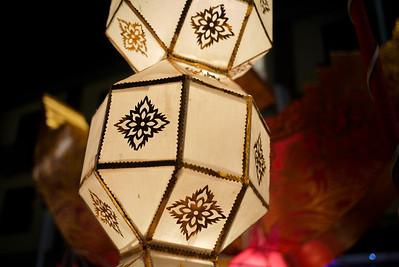 Hanging lanterns during Loy Krathong in Chiang Mai, Thailand