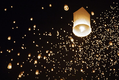 Our group lantern takes flight during Loy Krathong in Chiang Mai, Thailand