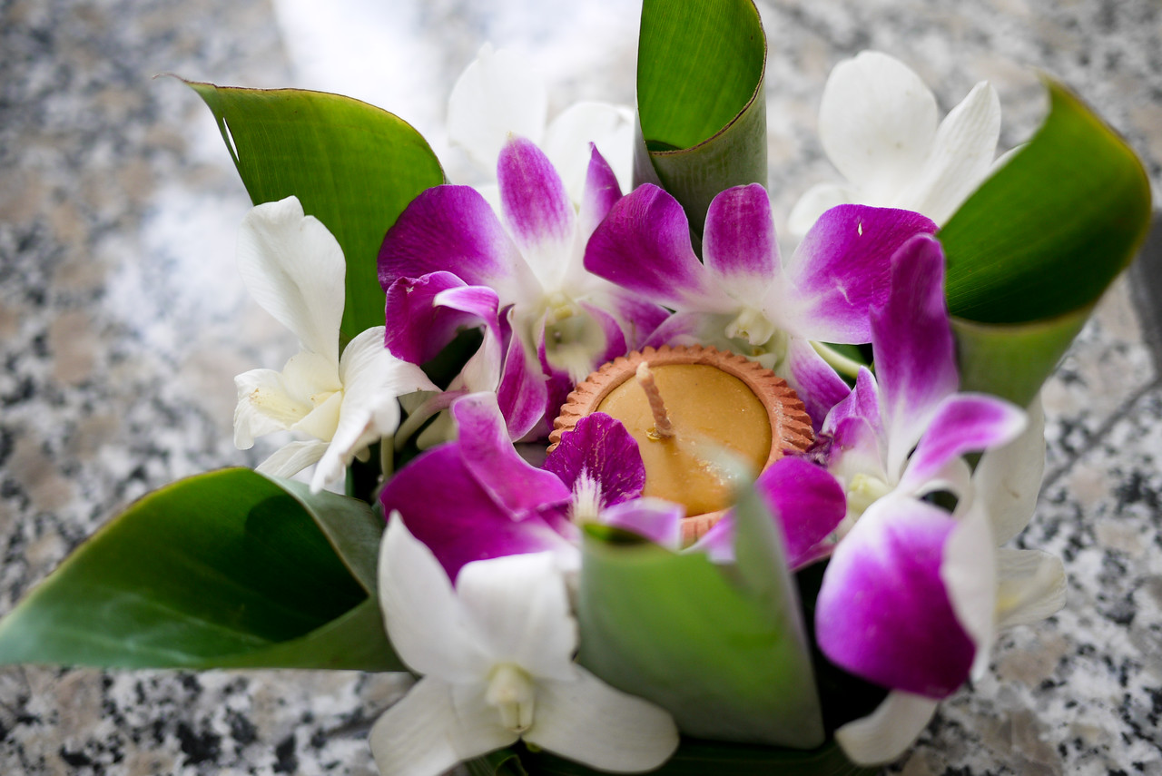 My small orchid krathong during Loy Krathong festivities in Chiang Mai, Thailand