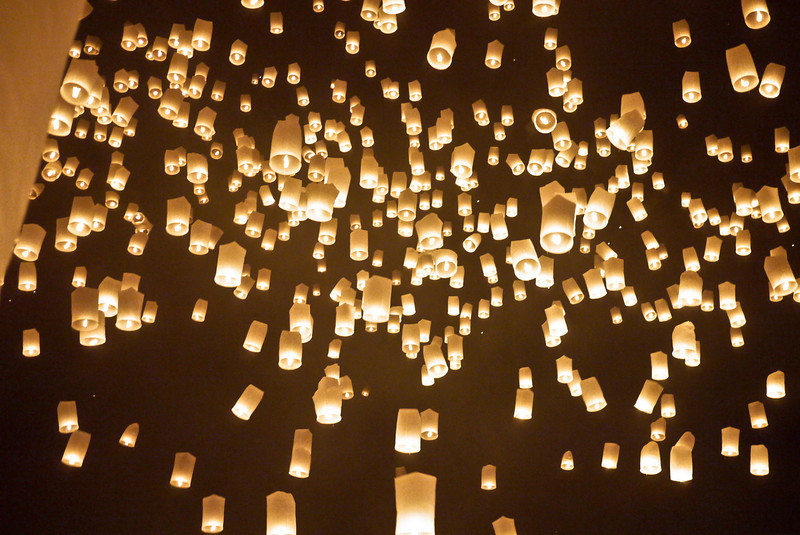 Lanterns fill the night sky during Loy Krathong in Chiang Mai, Thailand