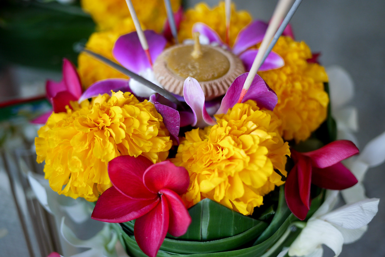 A close-up of Ana's krathong during Loy Krathong in Chiang Mai, Thailand