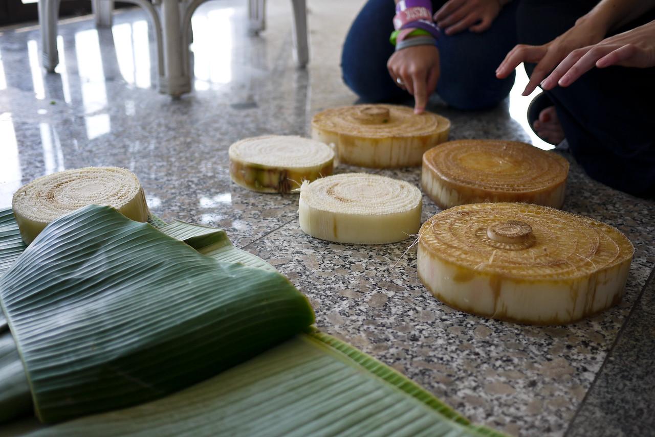 Banana leaves and banana stalk to make krathongs during Loy Krathong in Chiang Mai, Thailand