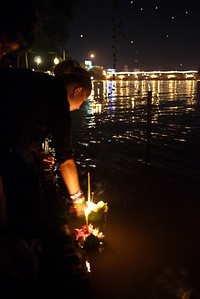 Ana releases her krathong during Loy Krathong in Chiang Mai, Thailand
