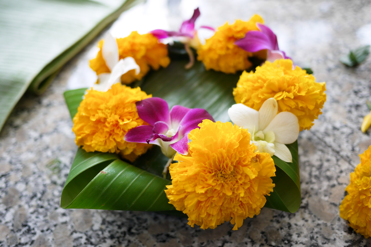 The base with flowers on it for Loy Krathong in Chiang Mai, Thailand