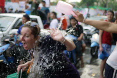 Freezing cold ice water during Songkran in Chiang Mai, Thailand