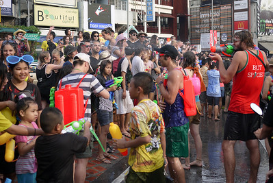 Throngs at Tha Pae Gate for Songkran in Chiang Mai, Thailand