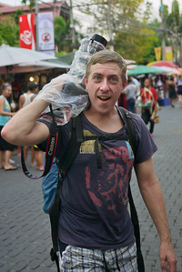Travis with a rain sleeve for his camera during Songkran in Chiang Mai, Thailand