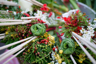 Flower offerings for the monks for Songkran in Chiang Mai, Thailand
