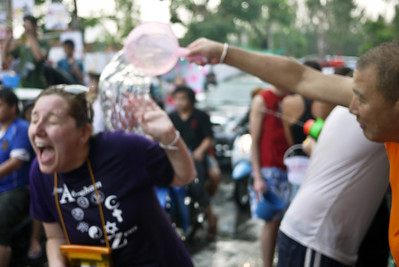 Shock as the cold waters hit during Songkran in Chiang Mai, Thailand