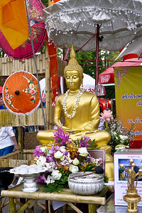 Buddha for the bathing during Songkran in Chiang Mai, Thailand