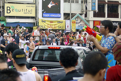 A big block part for Songkran in Chiang Mai, Thailand