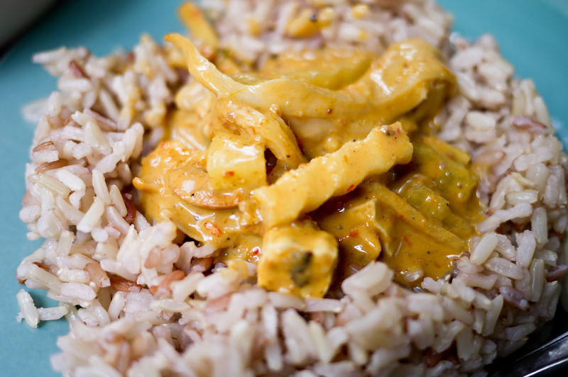 Thai massaman curry with brown rice from Pun Pun Organic in Chiang Mai, Thailand.