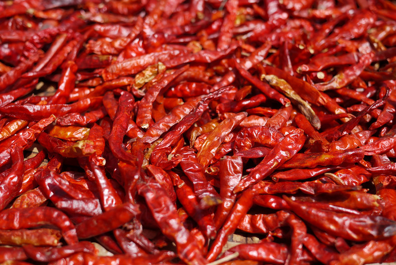 Bright and beautiful chili peppers dry out in the sunshine on a roadside table.
