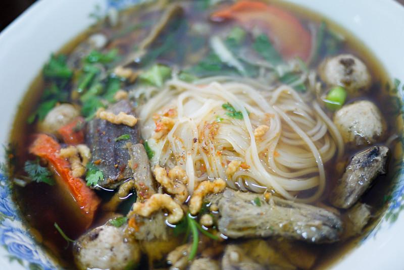 A delicious vegetarian soup made with seitan.