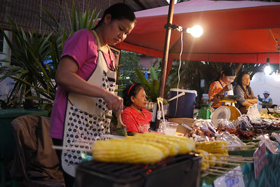 Street food vendor at the Sunday Night Market in Chiang Mai, Thailand.
