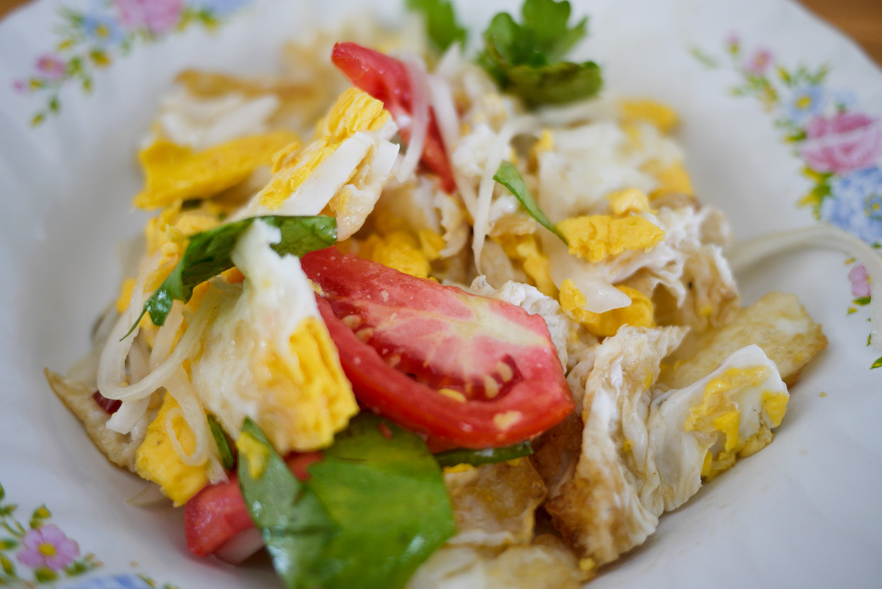Yum kai dao, a Thai fried egg salad
