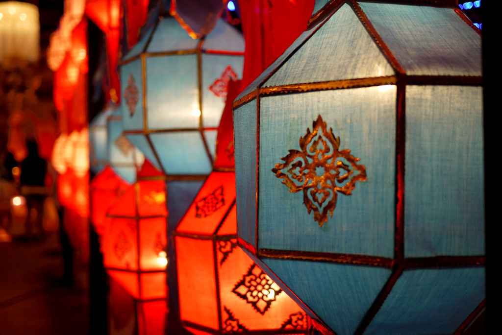 Pretty lanterns during Loy Krathong in Chiang Mai, Thailand