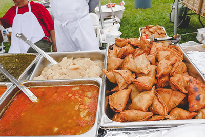 Puri Halva Chana and Vegetable Samosas