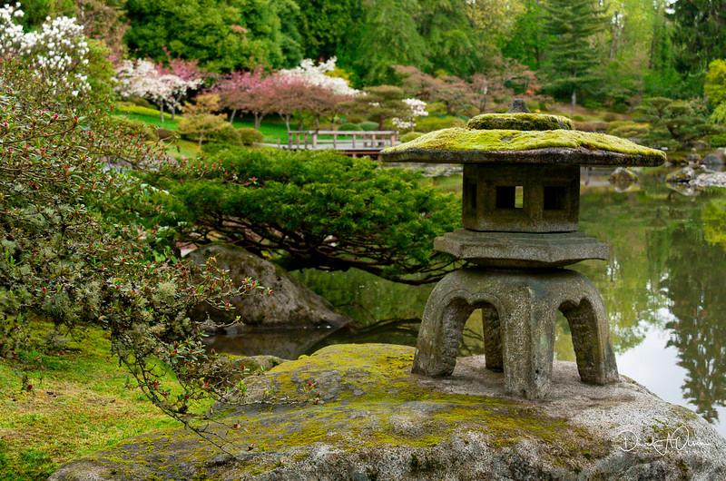 Mossed Pagoda with Azaleas