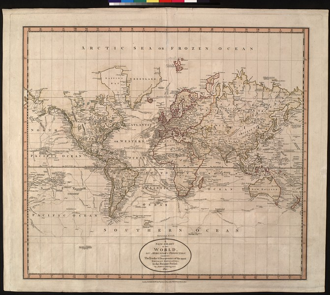 A new chart of the world, on Mercator's projection : exhibiting the tracks & discoveries of the most eminent navigators
