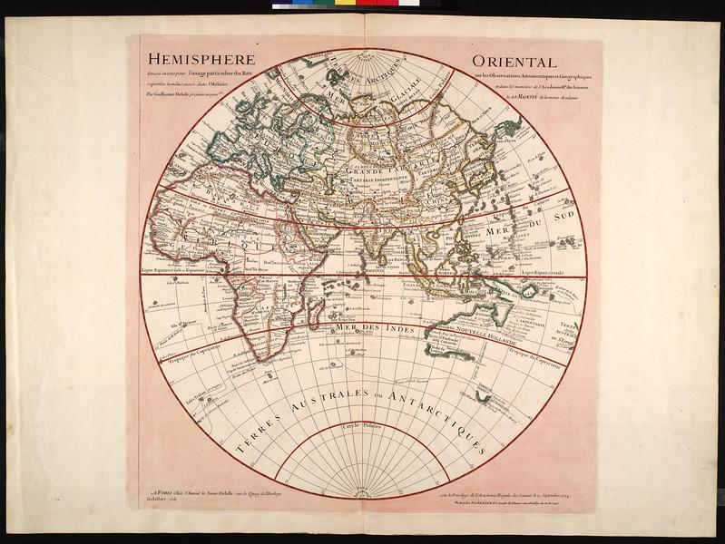Hemisphere oriental : dressée 1720 pour l'usage particulier du Roy sur les observations astronomiques et geographiques raportées la même année dans l'histoire et dans les memoires de l'Academie R'le des Sciences