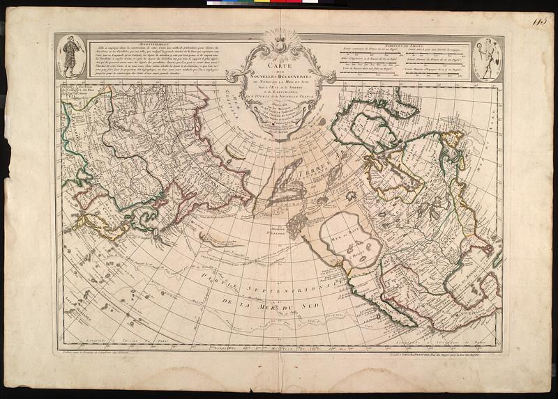 Cartes des nouvelles découvertes au nord de la Mer du Sud : tant à l'est de la Siberie et du Kamtchatka, qu'à l'ouest del a nouvelle France