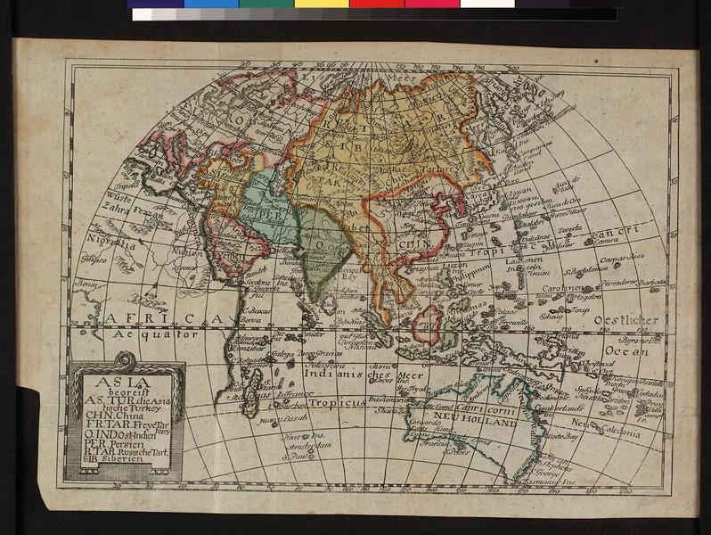 Asia : begreift As. Tur. die Asiatische Turkey, Chn. China, Fr. Tar. Freye Tartarey, O. Ind. Ost-Indien, Per. Persien, R. Tar. Rusische Tart., Sib. Siberien.