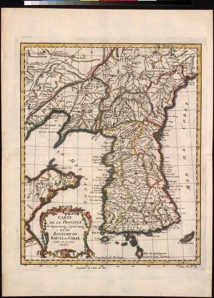 Carte de la province de Quan-tong, ou Lyau-tong et du Royaume de Kau-li, ou Corée : copiee sur la carte Angloise.