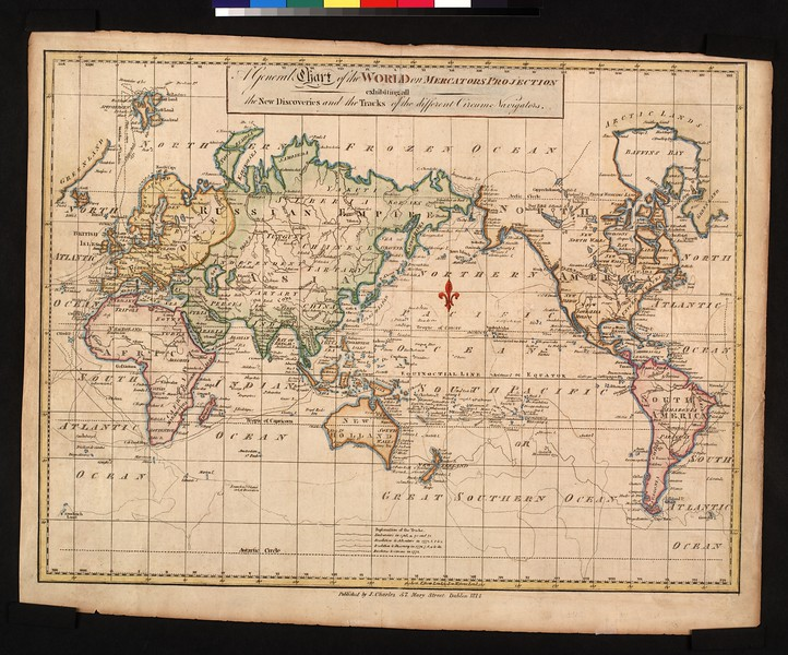 A general chart of the world on Mercators projection : exhibiting all the new discoveries and the tracks of the different circum-navigators.