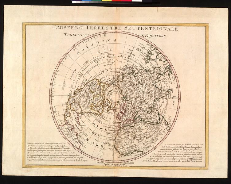 Emisfero terrestre settentrionale tagliato su equatore