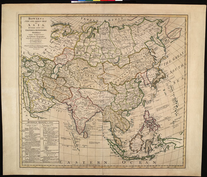 Bowle's new one-sheet map of Asia : divided into its empires, kingdoms, states, & other subdivisions
