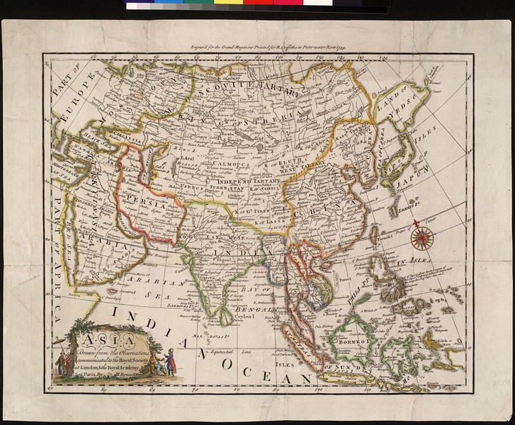 Asia, drawn from the observations communicated to the Royal Society of London, & the Royal Academy at Paris