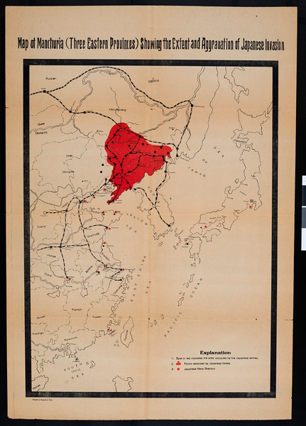 Map of Manchuria (three Eastern provinces) showing the extent and aggravation of Japanese invasion.