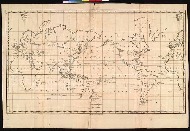 A chart of the world exhibiting the track of M. de La Pérouse : also the tracks of the vessels Recherche & L'Esperance in search of that navigator
