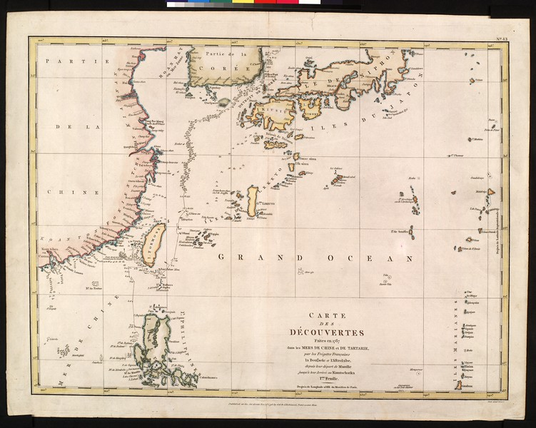 Cartes des découvertes faites en 1787 dans les mers de Chine et de Tartarie, par les frégates Françaises le Boussole et l'Astrolabe : depuis leur départ de Manille jusqu'à leur arrivée au Kamtschatka I'ere. fenille.