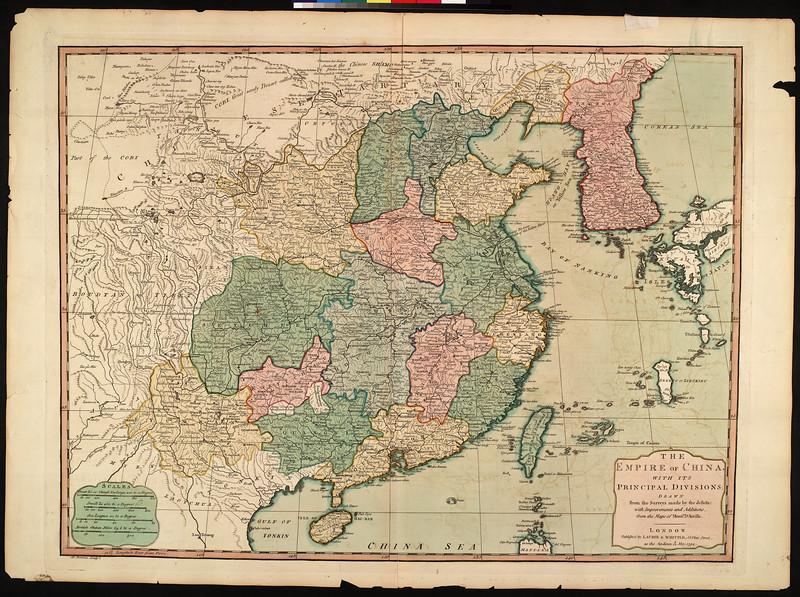 The empire of China, with its principle divisions : drawn from the surveys made by the Jesuits, with improvements and additions from the maps of Mons'r. D'Anville.
