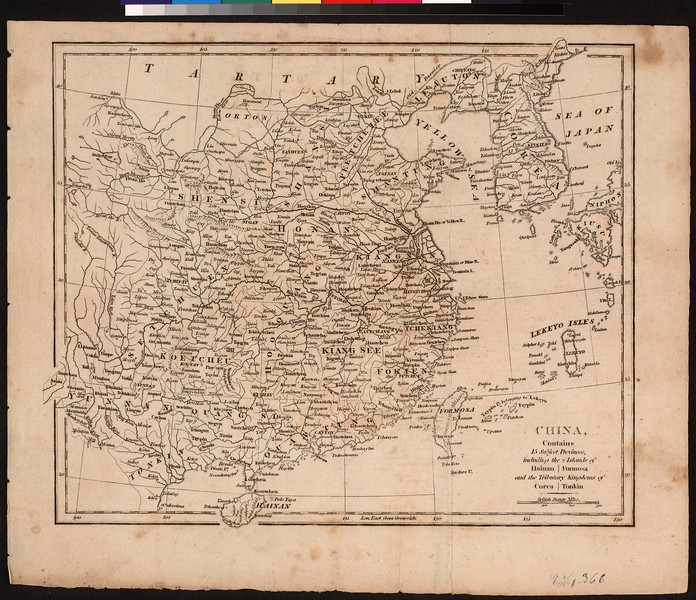 China : contains 15 subject provinces, including the 2 islands of Hainan, Formosa, and the tributary kingdoms of Corea, Tonkin