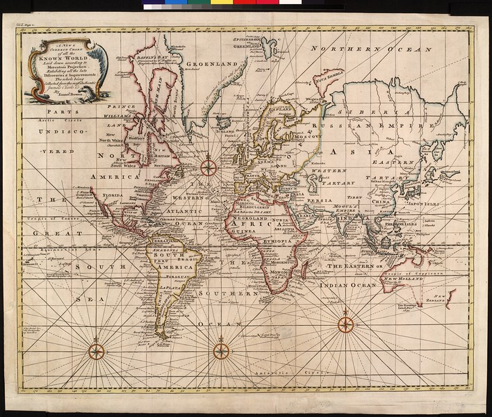 A new & correct chart of the known world, laid down according to Mercator's projection exhibiting all the late discoveries & improvements : the whole being collected from the most authentic journals, charts & c