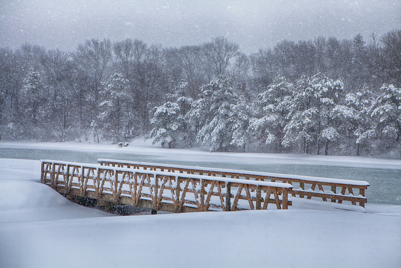 2/2/14 Old South Path in Dix Hills<br /> The snow makes everything look so beautiful. I love this scene with the bridge.
