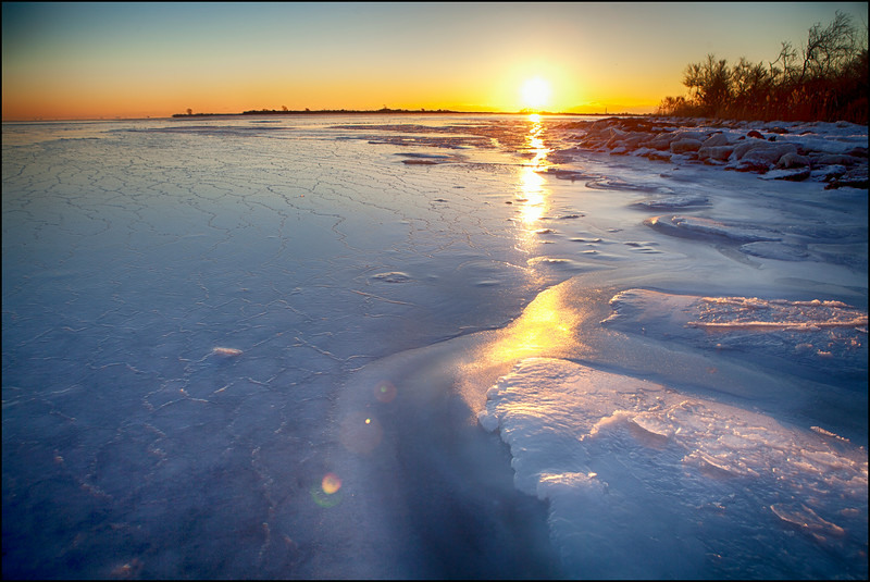 February 2014 The Great South Bay Frozen <br /> Looking at the sunrise from under the Robert Moses Causeway