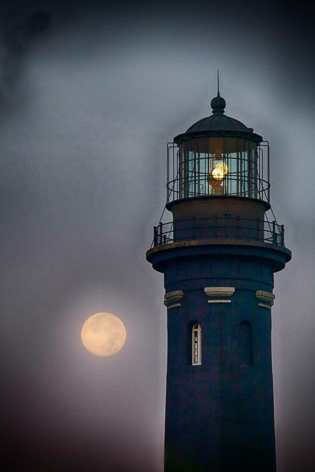Blue moon at Robert Moses Light House
