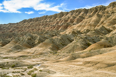Erosion on mountains in Taklamakan Desert on the foot of Tien Shan, China