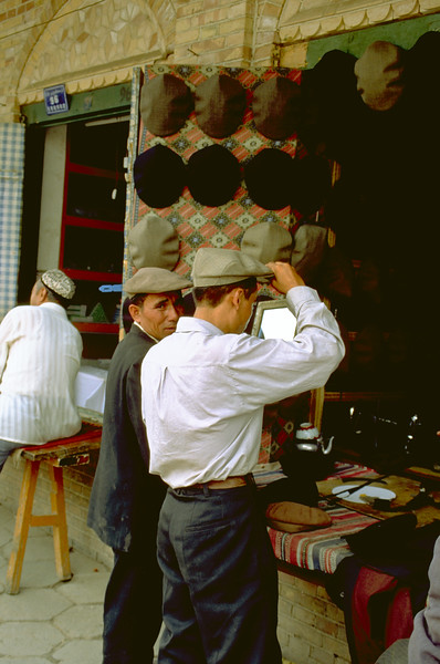 At the hatters on the market of Kashgar, Xinjiang Uygur Autonomous Region, China