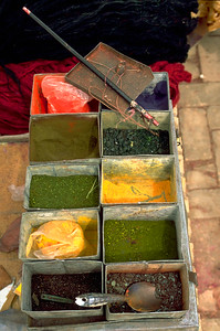 Mineral colors for sale on the market of Kashgar, Xinjiang Uygur Autonomous Region, China