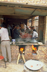 Restauration with open fire on the market of Kashgar, Xinjiang Uygur Autonomous Region, China