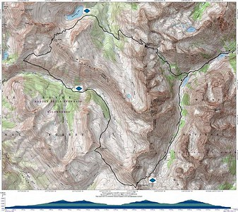 Here's the trail map, along with blue diamonds which indicate our camping spots each night. We went clockwise around the loop and started/finished at Maroon Lake (far right side of the map).