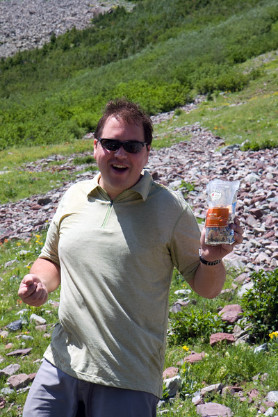 In an effort to reduce the total amount of trailmix this year (last year's bag will live in infamy), I packed individual goodie bags this year so that each man was accountable for hauling his own food/trail mix. Had to get at least one picture of Darren with his bag given he had to haul last year's full load.