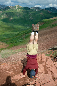 Bob celebrating the summit of West Maroon Pass with another tradition (the handstand) firmly established during our hike up Tszil Mountain in the Coast Mountains of BC. Perfect 10!