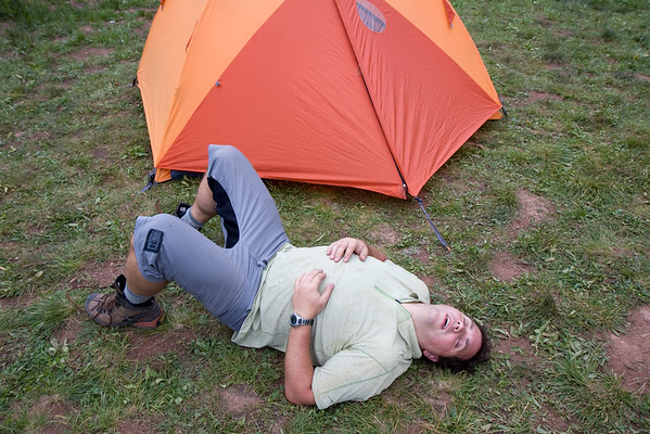 Think this pretty much sums up how Darren was feeling after the first day's hike!